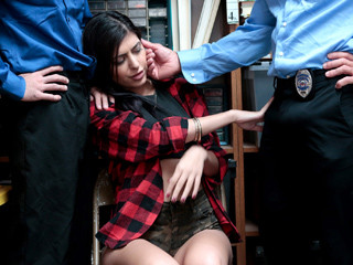Shop lifter Audrey gets fucked by a undercover LP officer and police sergeant