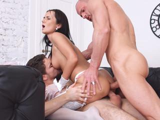 Hot courtesan teasing two guys