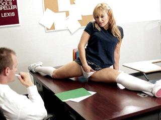 Alluring gymnast blonde teen Lea Lexis gets a wild fuck in classroom