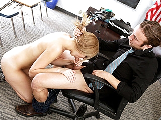 Blonde schoolgirl in glasses gets fucked her teacher in a classroom