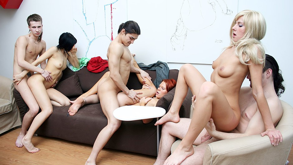 Teen group brunette