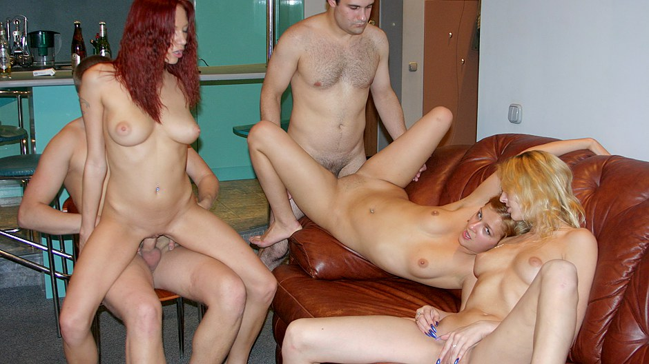Girls smoke in orgy
