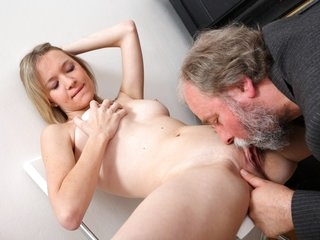 Maya's tiny tits get bounced around by an old dude fucking her nice and hard.